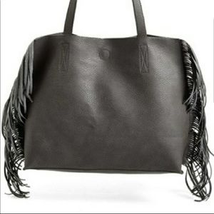 Bp faux leather fringe tote